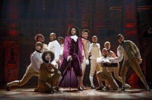 Hamilton Theatre Breaks - Daveed Diggs as Thomas Jefferson and ensemble on Broadway. Photo Joan Marcus