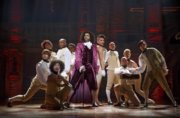 Hamilton Theatre Breaks - Daveed Diggs as Thomas Jefferson and ensemble on Broadway. Photo Joan Marcus
