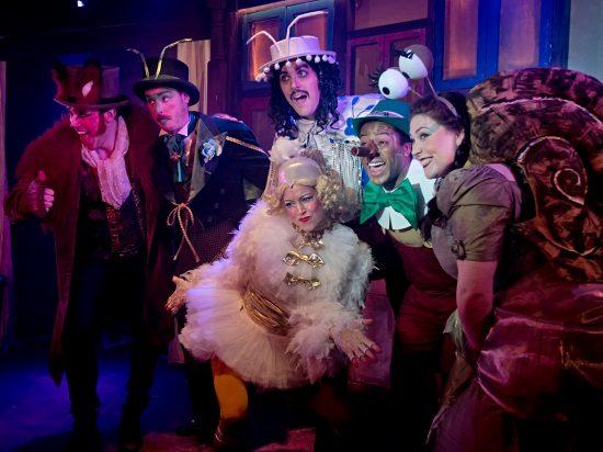 Pinocchio left - Robin Bailey, Matthew R J Ward, Nichola Jolley, John Savournin, Joshua Da Costa, Francesca Fenech.