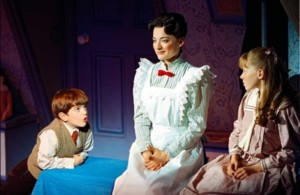 Harry Stott (Michael), Laura Michelle Kelly (Mary Poppins) & Charlotte Spencer (Jane) 2004 - Photo by Michael Le Poer Trench Copyright CML