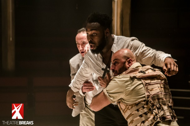 Abraham Popoola Othello, Ghazwan Alsafadi Montano and Christopher Bianchi Duke of Venice Gratiano Othello Photo credit The Other Richard