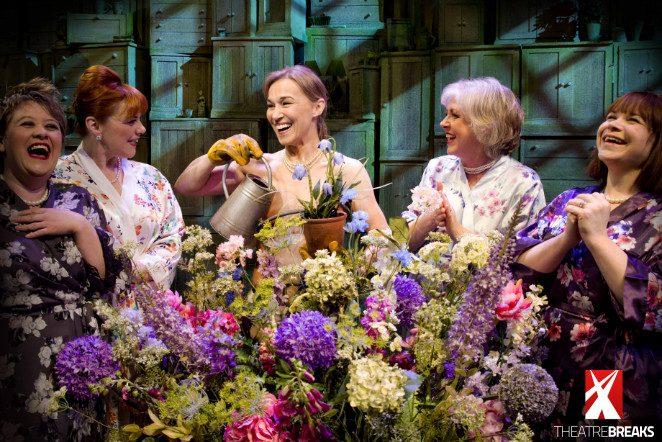LtoR Claire Machin, Sophie-Louise Dann, Joanna Riding, Claire Moore and Debbie Chazen in THE GIRLS. Credit Matt Crockett, Dewynters